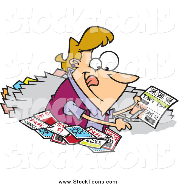 Stock Cartoon of a Blond Happy Woman Clipping Coupons