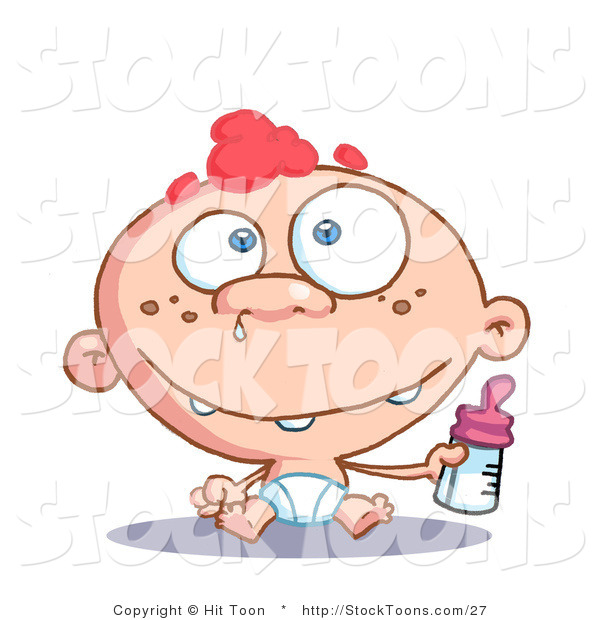 Stock Cartoon of a Blue Eyed and Red Haired Freckeled Baby Boy