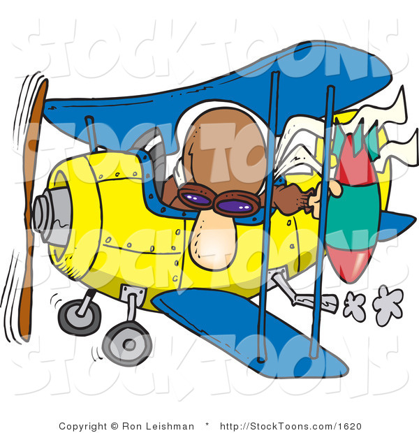 Stock Cartoon of a Bomber Man in a Biplane Preparing to Drop a Bomb