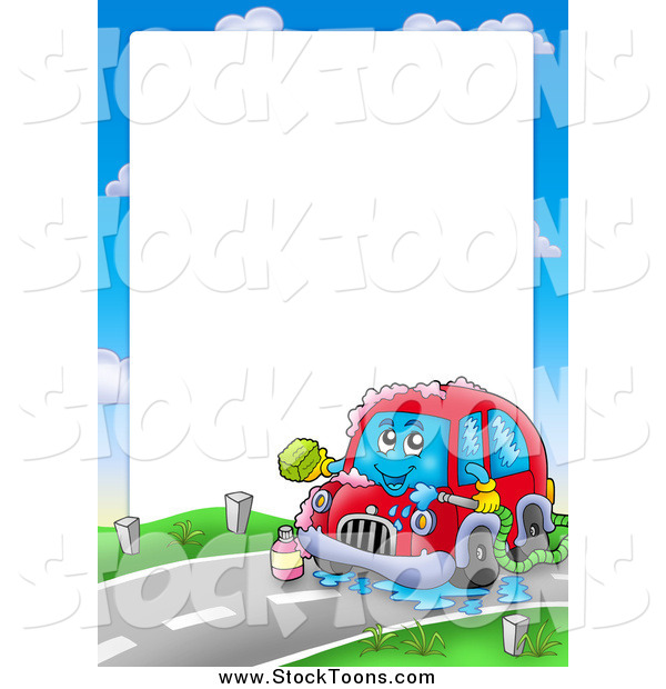 Stock Cartoon of a Border of a Car Washing Itself Around Text Space