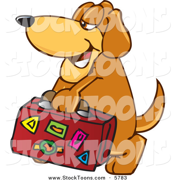 Stock Cartoon of a Brown Pet Dog Mascot Cartoon Character Carrying Luggage