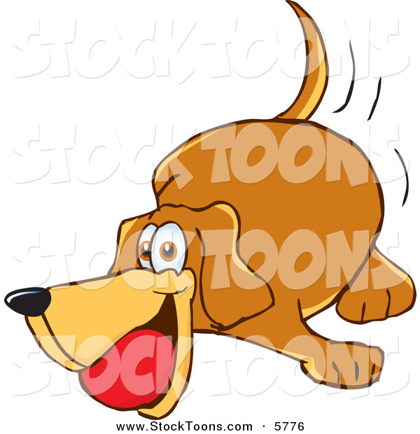 Stock Cartoon of a Brown Pet Dog Mascot Cartoon Character Playing with a Red Ball