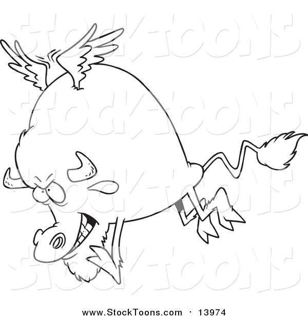 Stock Cartoon of a Buffalo with Wings in Lineart
