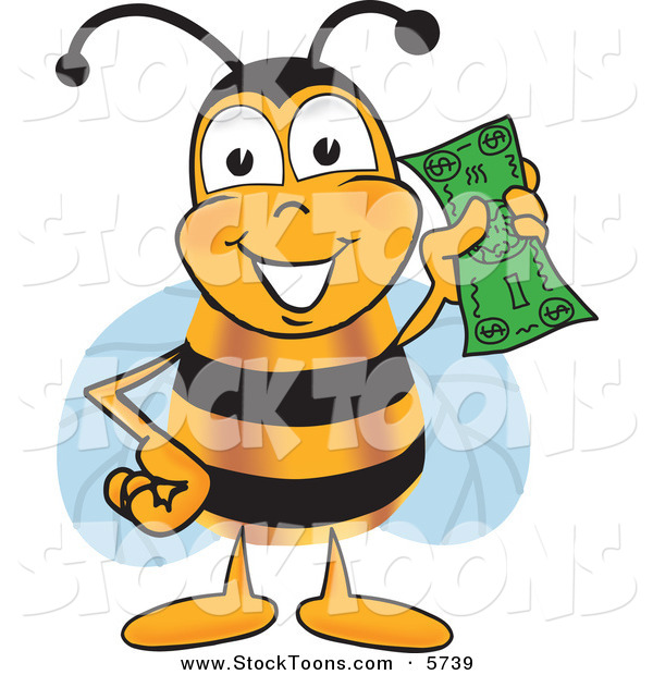 Stock Cartoon of a BumblebBee Mascot Cartoon Character Holding a Dollar Bill