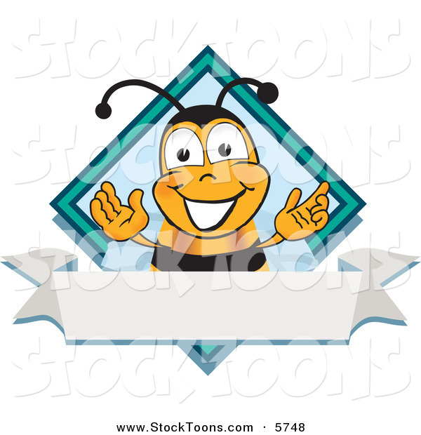 Stock Cartoon of a Bumblebee Mascot Cartoon Character on a Blank White Label