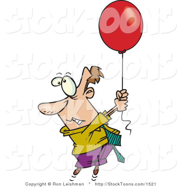 Stock Cartoon of a Business Man Getting Carried Away by a Floating Red Balloon