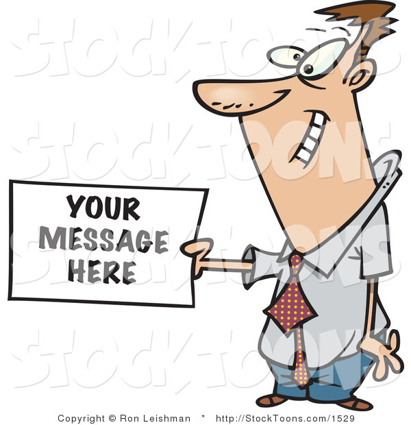 Stock Cartoon of a Business Man Holding a Sign