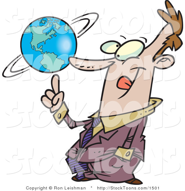 Stock Cartoon of a Business Man Spinning a Globe on His Finger