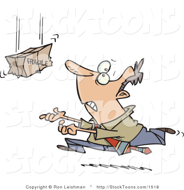 Stock Cartoon of a Businessman Trying to Catch a Falling Fragile Package