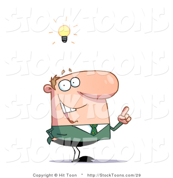 Stock Cartoon of a Businessman with a Lighbulb over His Head