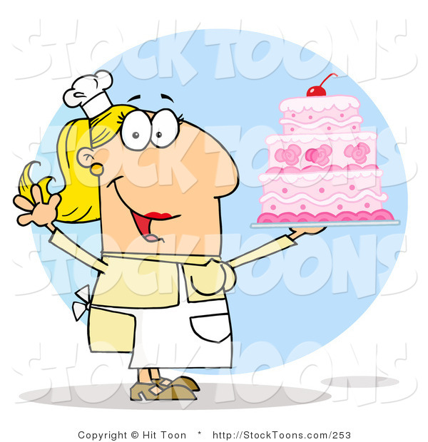 Stock Cartoon of a Cake Maker Woman