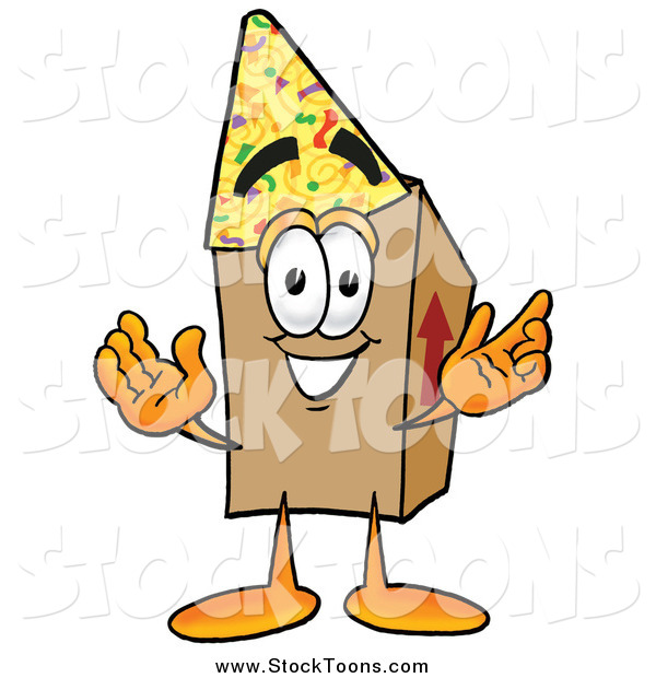 Stock Cartoon of a Cardboard Box Character Wearing a Birthday Party Hat