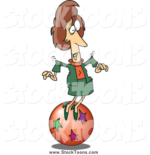 Stock Cartoon of a Cartoon Caucasian Businesswoman Trying to Balance on a Ball