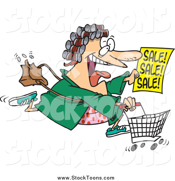 Stock Cartoon of a Cartoon Crazed Woman in Her Robe and Curlers, Running to a Sale