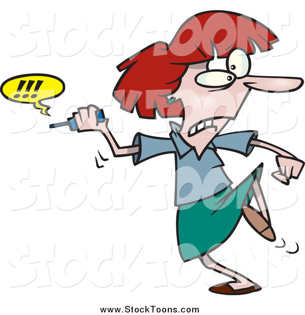 Stock Cartoon of a Cartoon Red Haired Businesswoman Fed up with Her Cell Phone