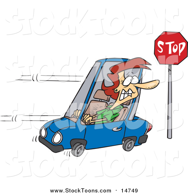 Stock Cartoon of a Cartoon Red Haired White Woman Running a Stop Sign
