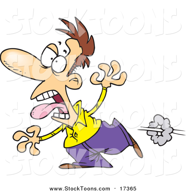 Stock Cartoon of a Cartoon Scared Brunette White Man Running