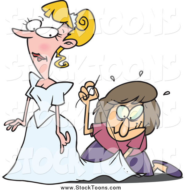 Stock Cartoon of a Cartoon Seamstress Hurredly Tailoring a Bride's Dress at the Last Minute