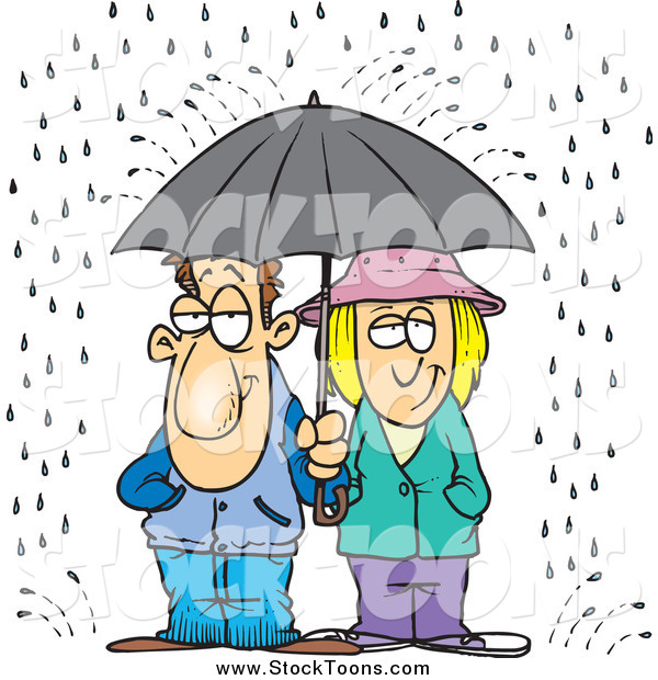 Stock Cartoon of a Cartoon Unhappy Couple Sharing an Umbrella in the Rain