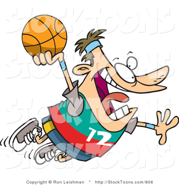Stock Cartoon of a Caucasian Man About to Dunk a Basketball