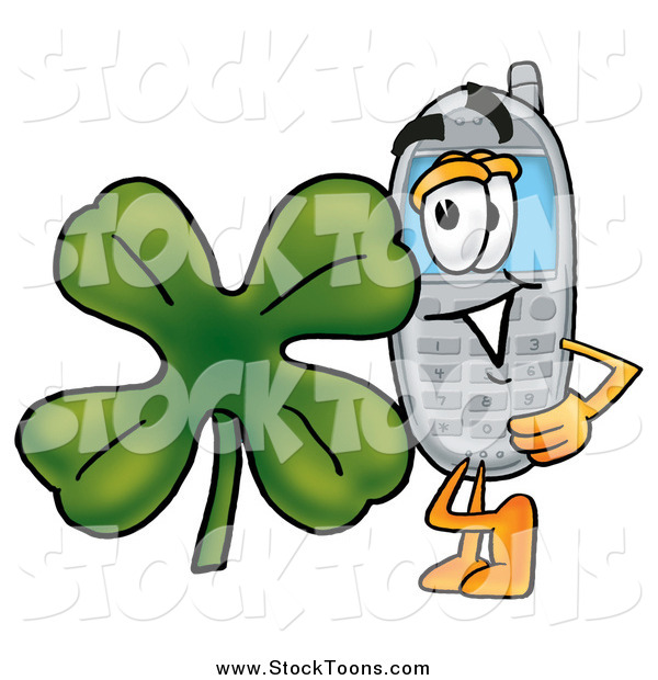 Stock Cartoon of a Cellphone Character with a St Patricks Day Shamrock