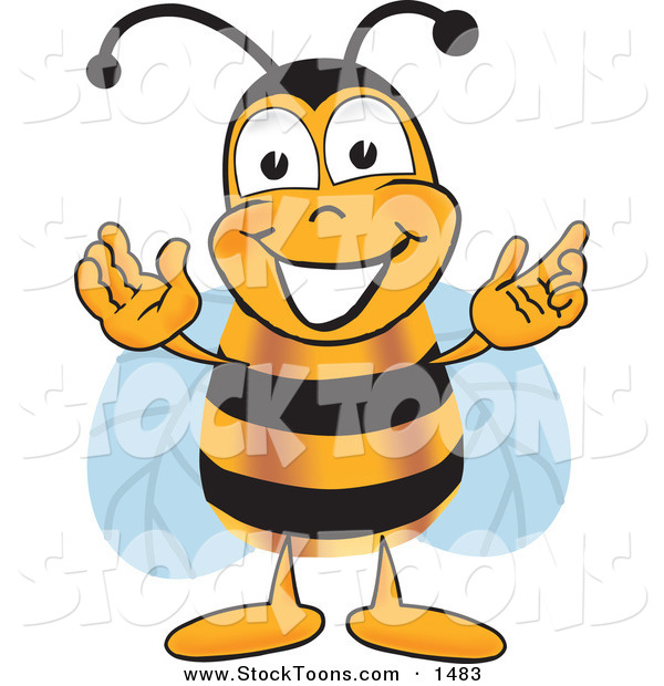 Stock Cartoon of a Cheerful Bee Mascot Cartoon Character Greeting with Open Arms