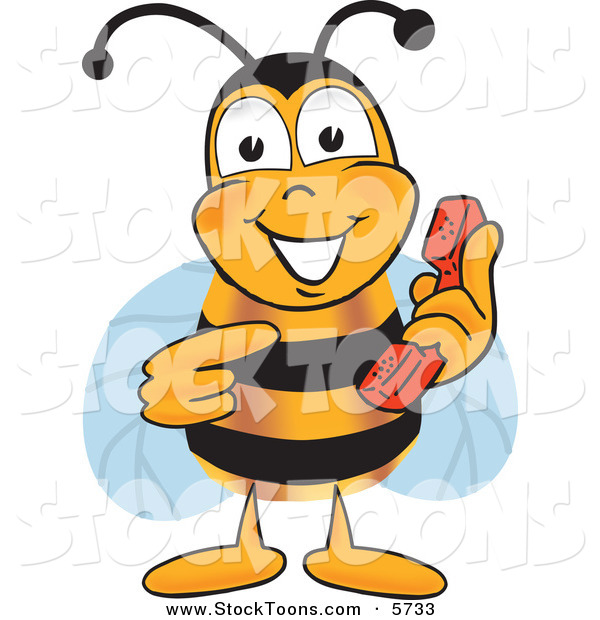Stock Cartoon of a Cheerful Bee Mascot Cartoon Character Holding and Pointing to a Telephone