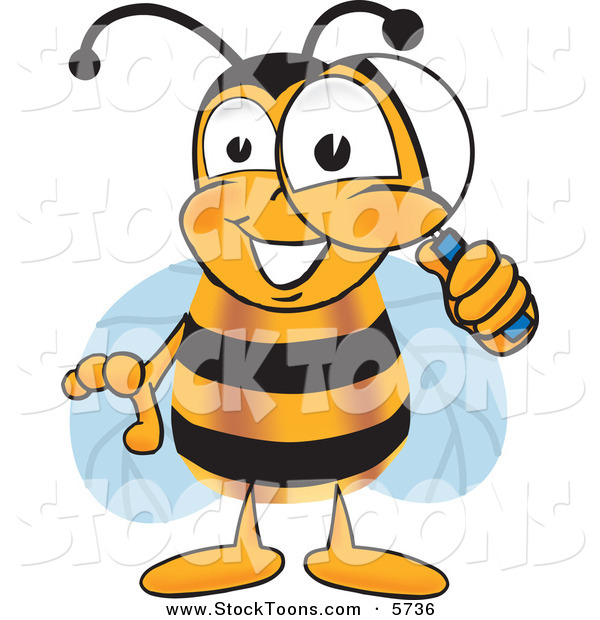 Stock Cartoon of a Cheerful Bee Mascot Cartoon Character Peeking Through a Magnifying Glass