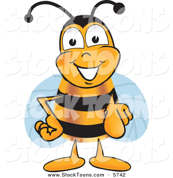 Stock Cartoon of a Cheerful Bee Mascot Cartoon Character Pointing at the Viewer