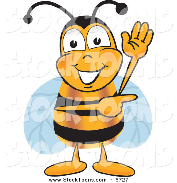 Stock Cartoon of a Cheerful Bee Mascot Cartoon Character Waving and Pointing to the Right