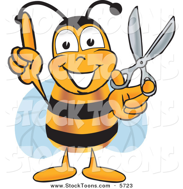 Stock Cartoon of a Cheerful Bee Mascot Cartoon Character with Scissors