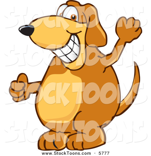 Stock Cartoon of a Cheerful Brown Dog Mascot Cartoon Character Grinning