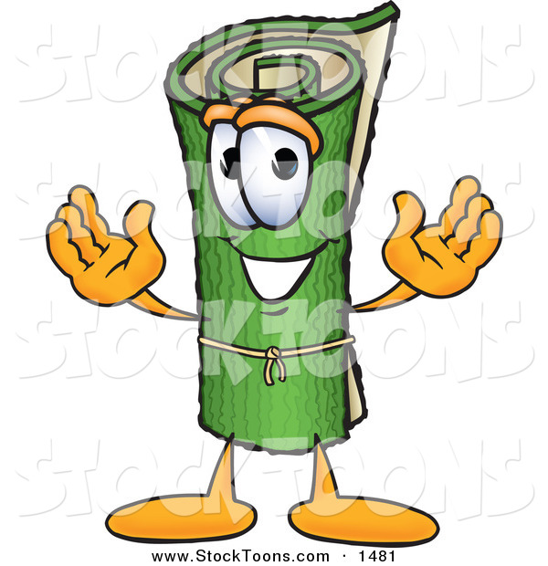 Stock Cartoon of a Cheerful Green Carpet Mascot Cartoon Character