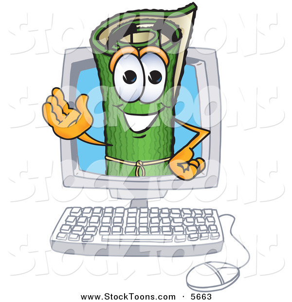 Stock Cartoon of a Cheerful Green Carpet Mascot Cartoon Character in a Computer Screen