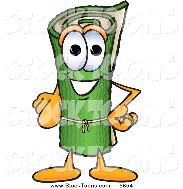 Stock Cartoon of a Cheerful Green Carpet Mascot Cartoon Character Pointing at the Viewer