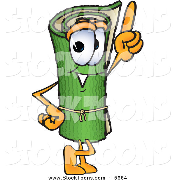 Stock Cartoon of a Cheerful Green Carpet Mascot Cartoon Character Pointing Upwards