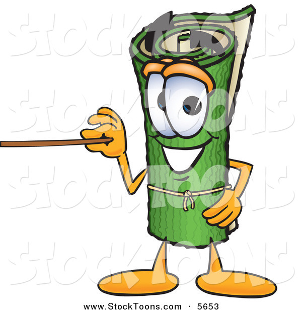 Stock Cartoon of a Cheerful Green Carpet Mascot Cartoon Character Using a Pointer Stick