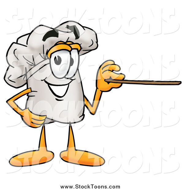 Stock Cartoon of a Chefs Hat Using a Pointer Stick