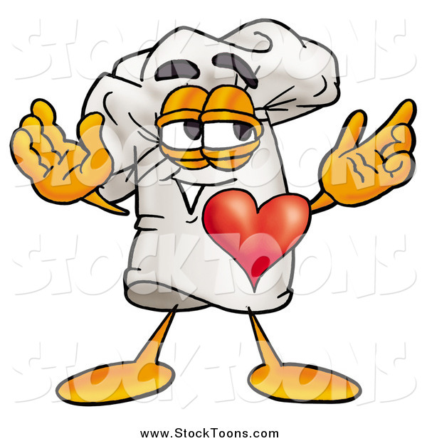 Stock Cartoon of a Chefs Hat with His Heart Beating out of His Chest
