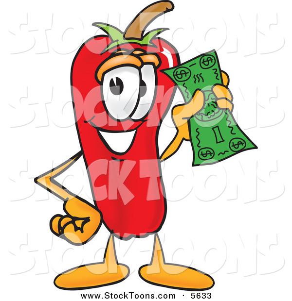Stock Cartoon of a Chili Pepper Mascot Cartoon Character Holding a Dollar Bill on White