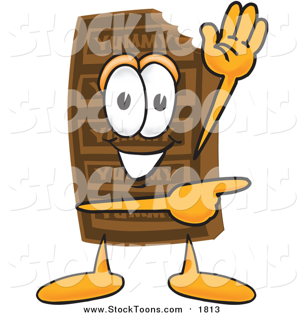 Stock Cartoon of a Chocolate Candy Bar Character Waving and Pointing