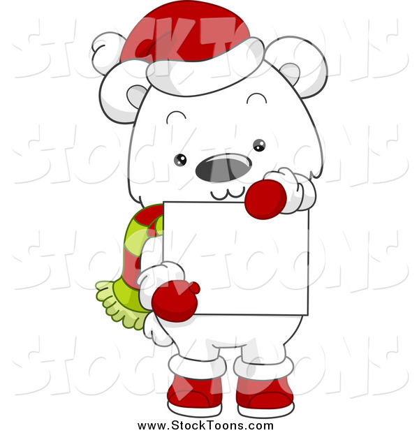 Stock Cartoon of a Christmas Polar Bear Holding a Blank Sign