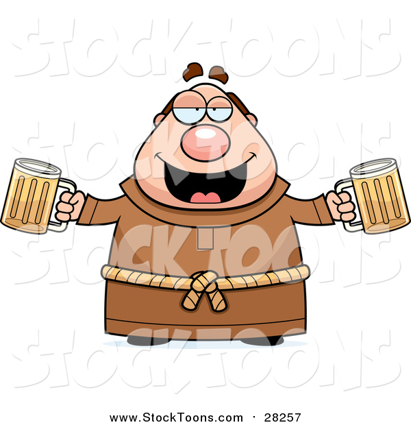 Stock Cartoon of a Chubby Drunk Monk with Beers