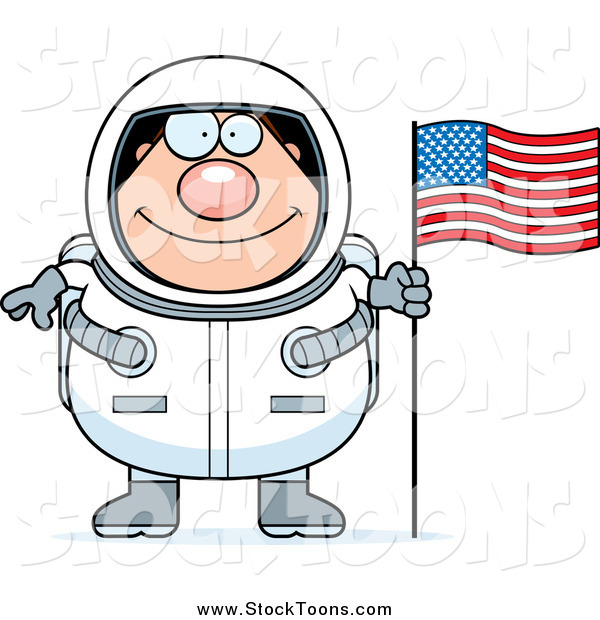 Stock Cartoon of a Chubby Happy Male Astronaut with an American Flag
