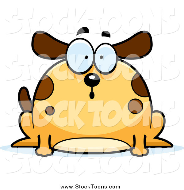 Stock Cartoon of a Chubby Surprised Dog Gasping