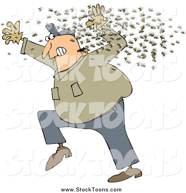 Stock Cartoon of a Chubby White Man Running Away from a Swarm of Bees
