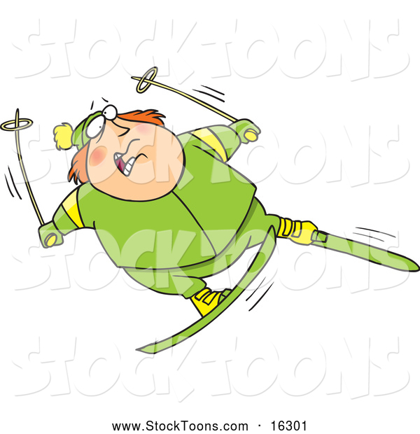 Stock Cartoon of a Clumsy Fat Man Skiing