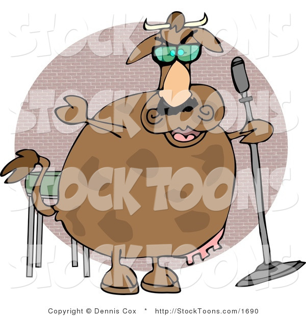 Stock Cartoon of a Cow Doing Stand-up Comedy