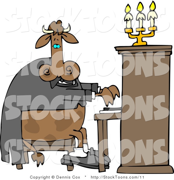 Stock Cartoon of a Cow Playing a Piano