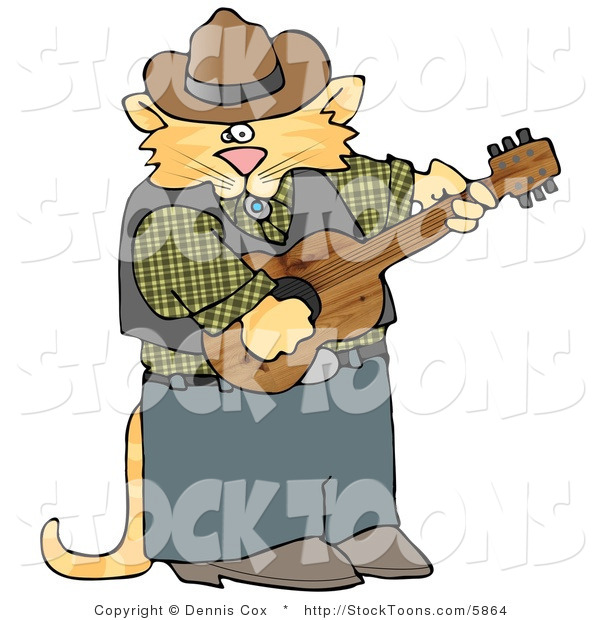 Stock Cartoon of a Cowboy Musician Cat